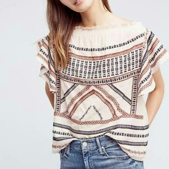 Anthropologie Tops - Anthropology Embroidered Blouse